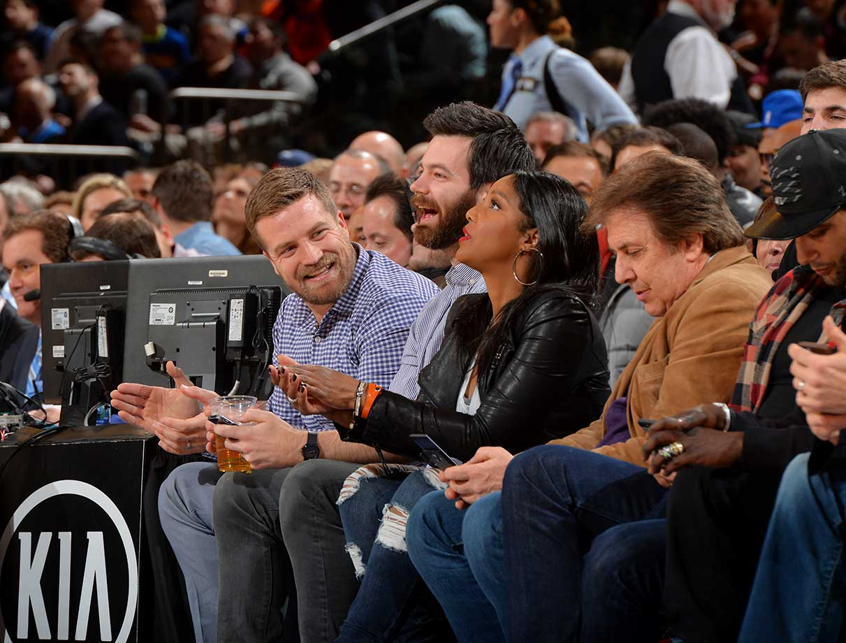 New York Jets quarterback Ryan Fitzpatrick looks on while at the New York Knicks against the Utah Jazz at Madison Square Garden.