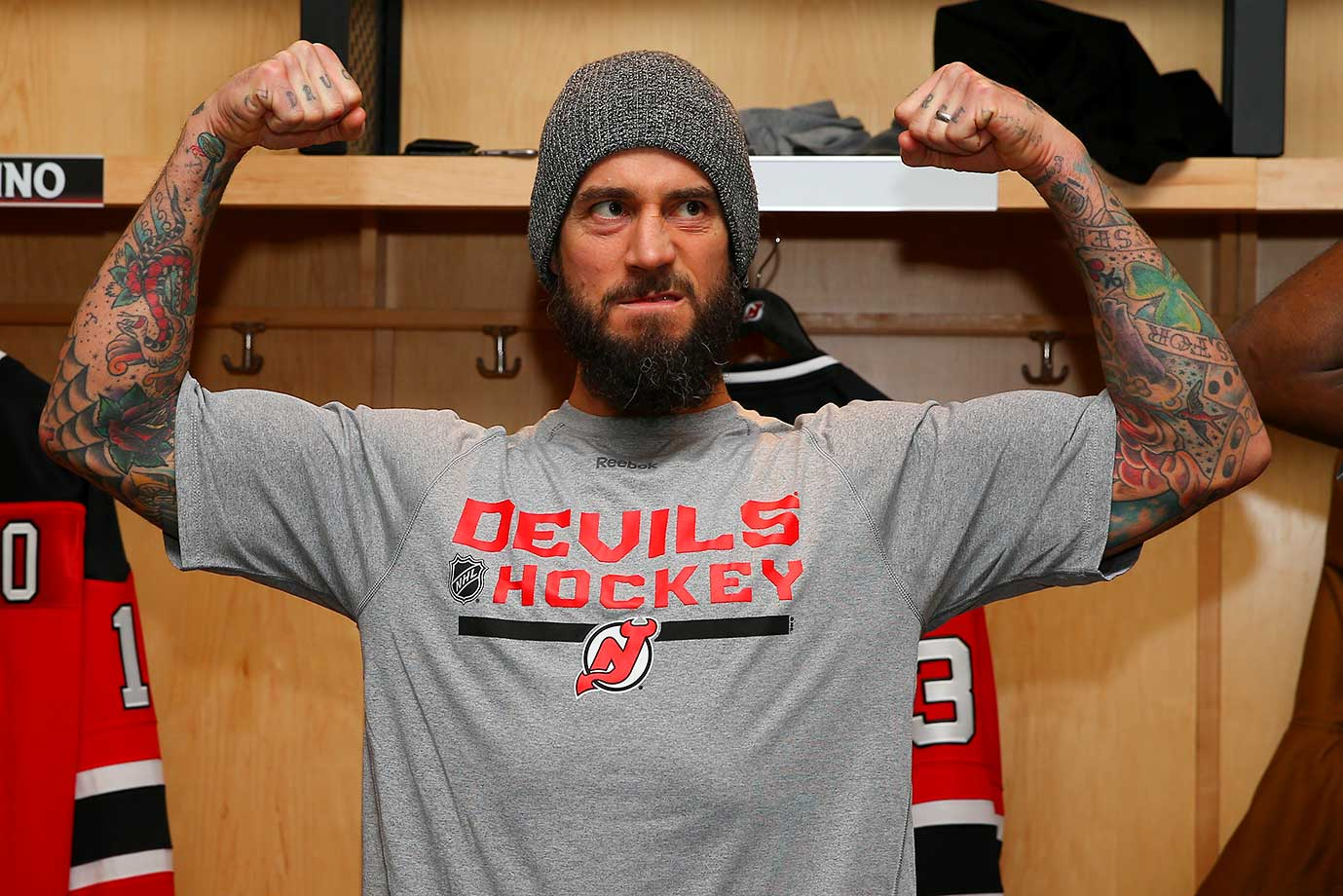 "UFC fighter Phil ""CM Punk"" Brooks poses in front of his locker at the Amerihealth Pavilion  in Newark."