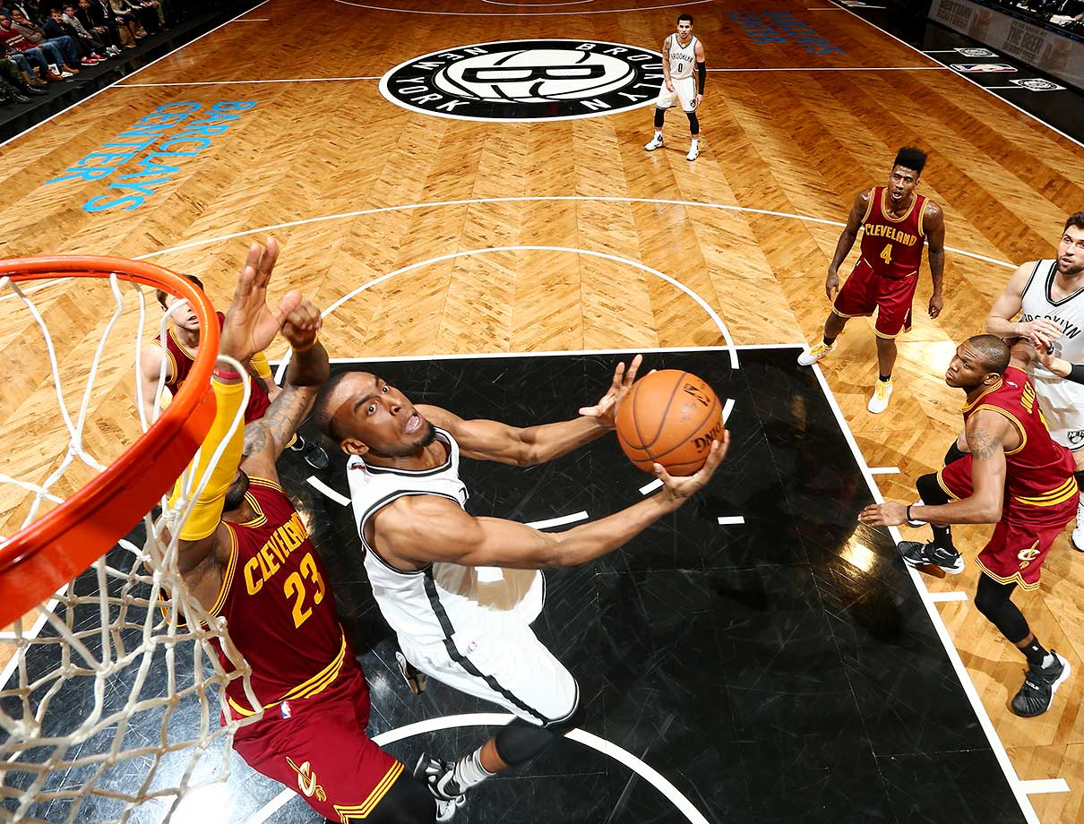 Markel Brown of the Brooklyn Nets shoots the ball against the Cleveland Cavaliers at Barclays Center in Brooklyn.