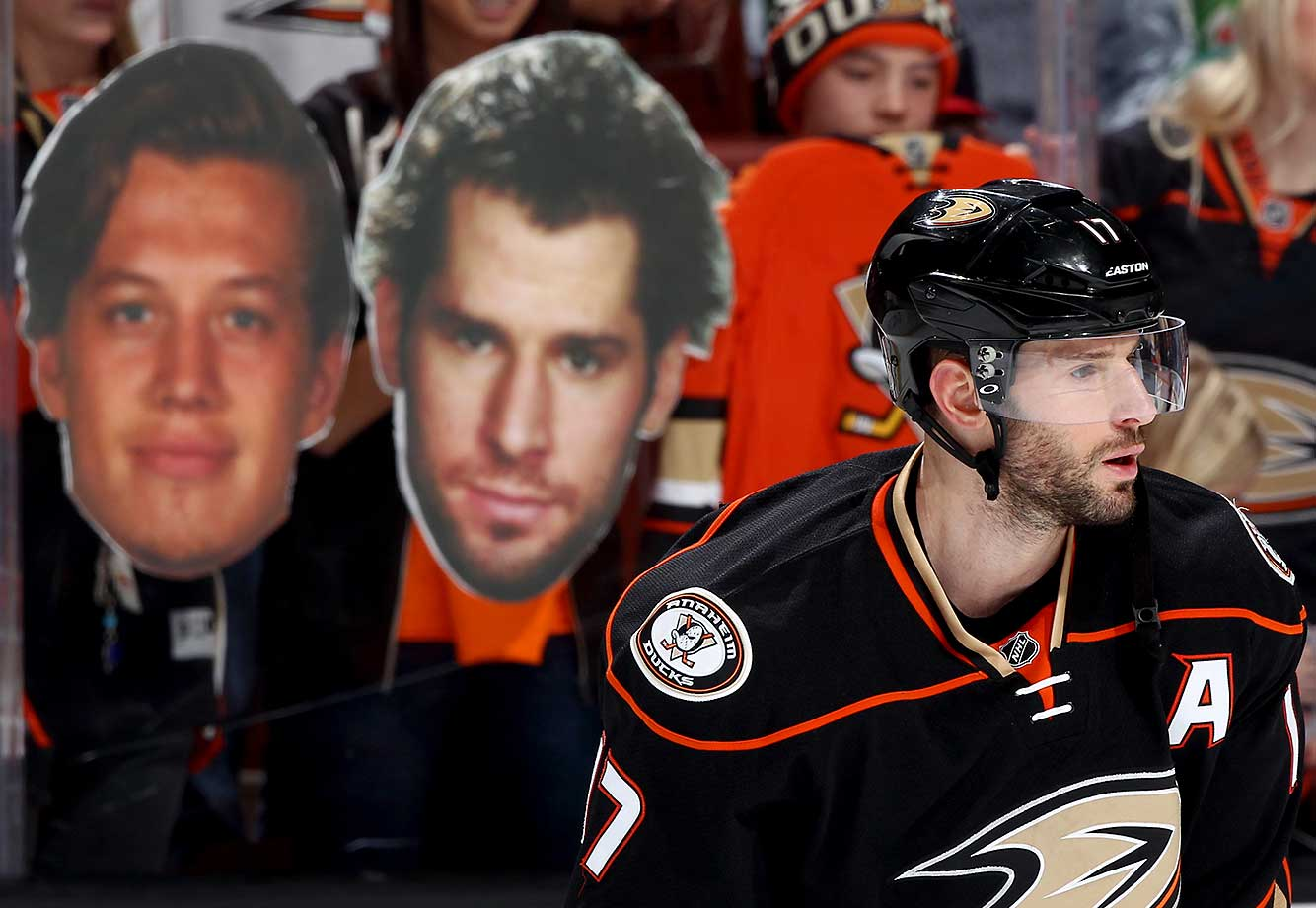 Ryan Kesler of the Anaheim Ducks skates during warmups before the game against the Minnesota Wild at Honda Center in Anaheim.