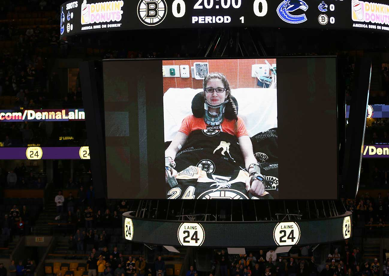 Denna Laing of the Boston Pride speaks through a recorded video message before the game between the Boston Bruins and the Vancouver Canucks at TD Garden. Laing was seriously injured while playing in the Women's Winter Classic.