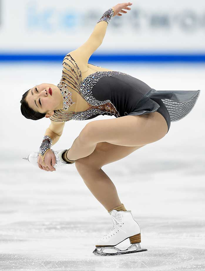Mirai Nagasu competes in the Ladies' Short Program at the 2016 Prudential U.S. Figure Skating Championship at Xcel Energy Center in St Paul, Minn.