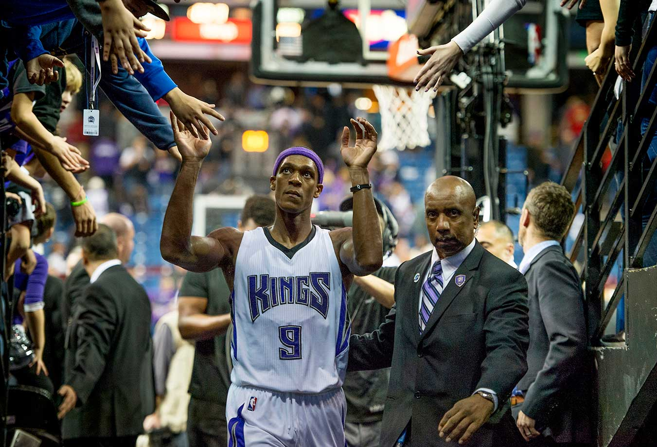 The Sacramento Kings' Rajon Rondo leaves the floor after the Kings' 91-88 victory against the Atlanta Hawks at Sleep Train Arena in Sacramento.