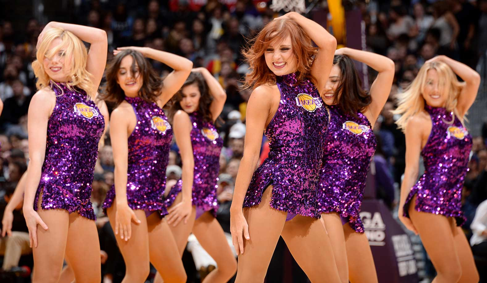 The Los Angeles Lakers dancers perform during the game against the San Antonio Spurs at the Staples Center in Lot Angeles.