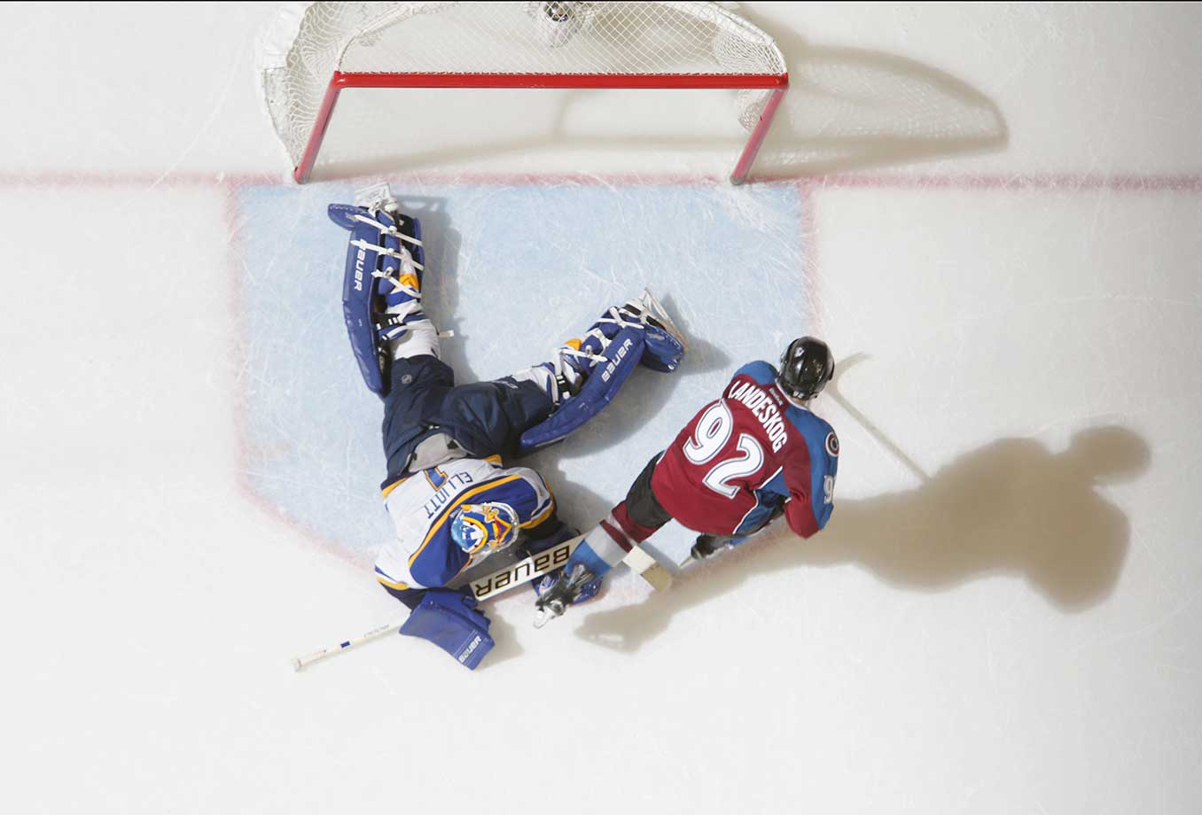 Gabriel Landeskog of the Colorado Avalanche scores the game-winning goal in the shootout against Brian Elliott of the St. Louis Blues at the Pepsi Center in Denver. The Avalanche defeated the Blues 2-1 in a shootout.