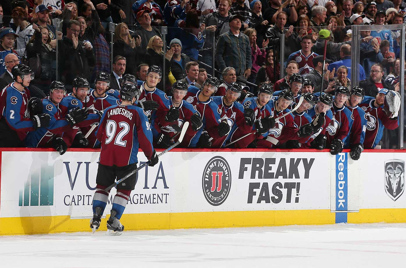 Gabriel Landeskog of the Colorado Avalanche celebrates with his bench after scoring the first goal in an overtime shootout against the St. Louis Blues.