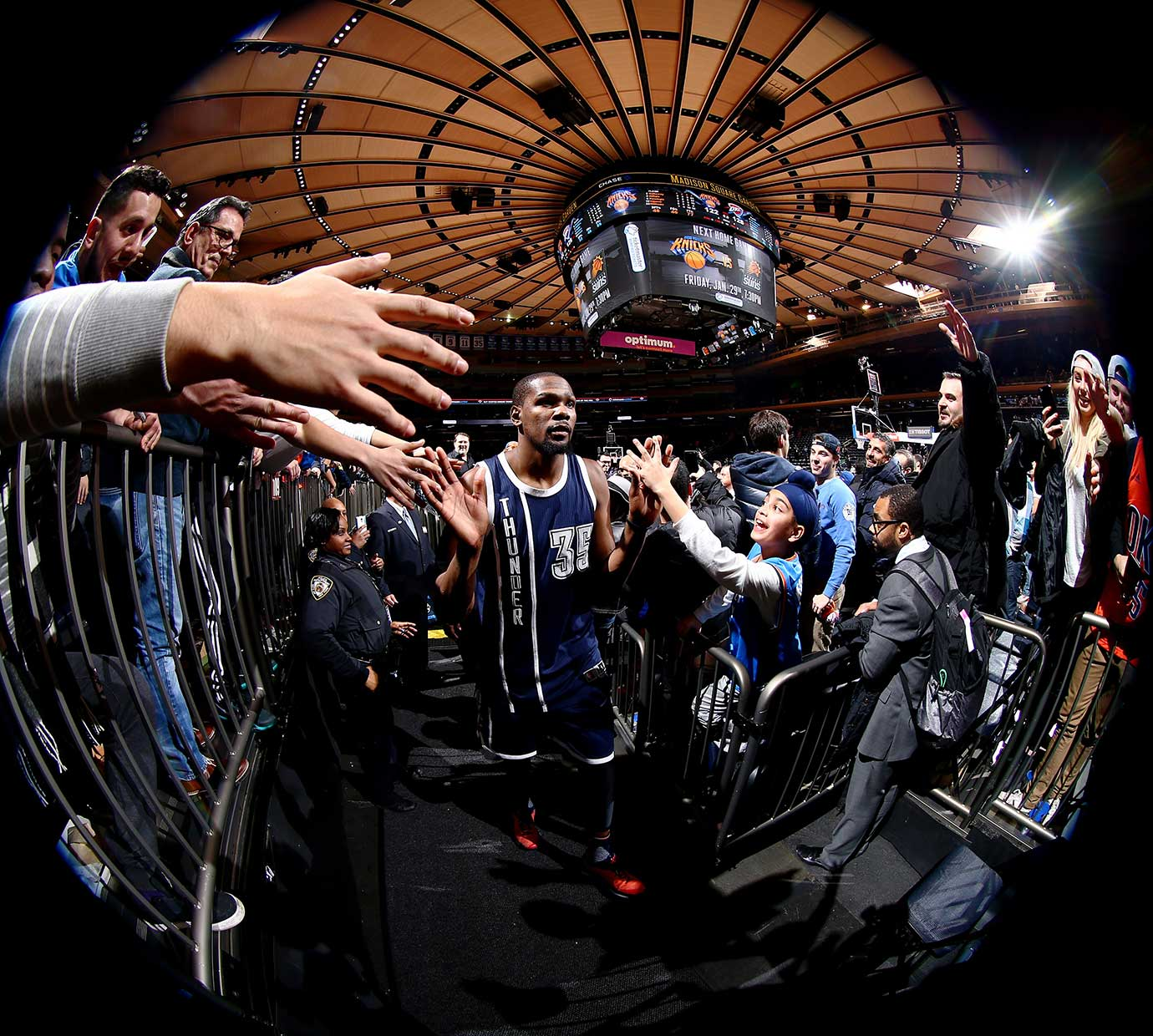 Kevin Durant of the Oklahoma City Thunder after the game against the New York Knicks at Madison Square Garden in New York.