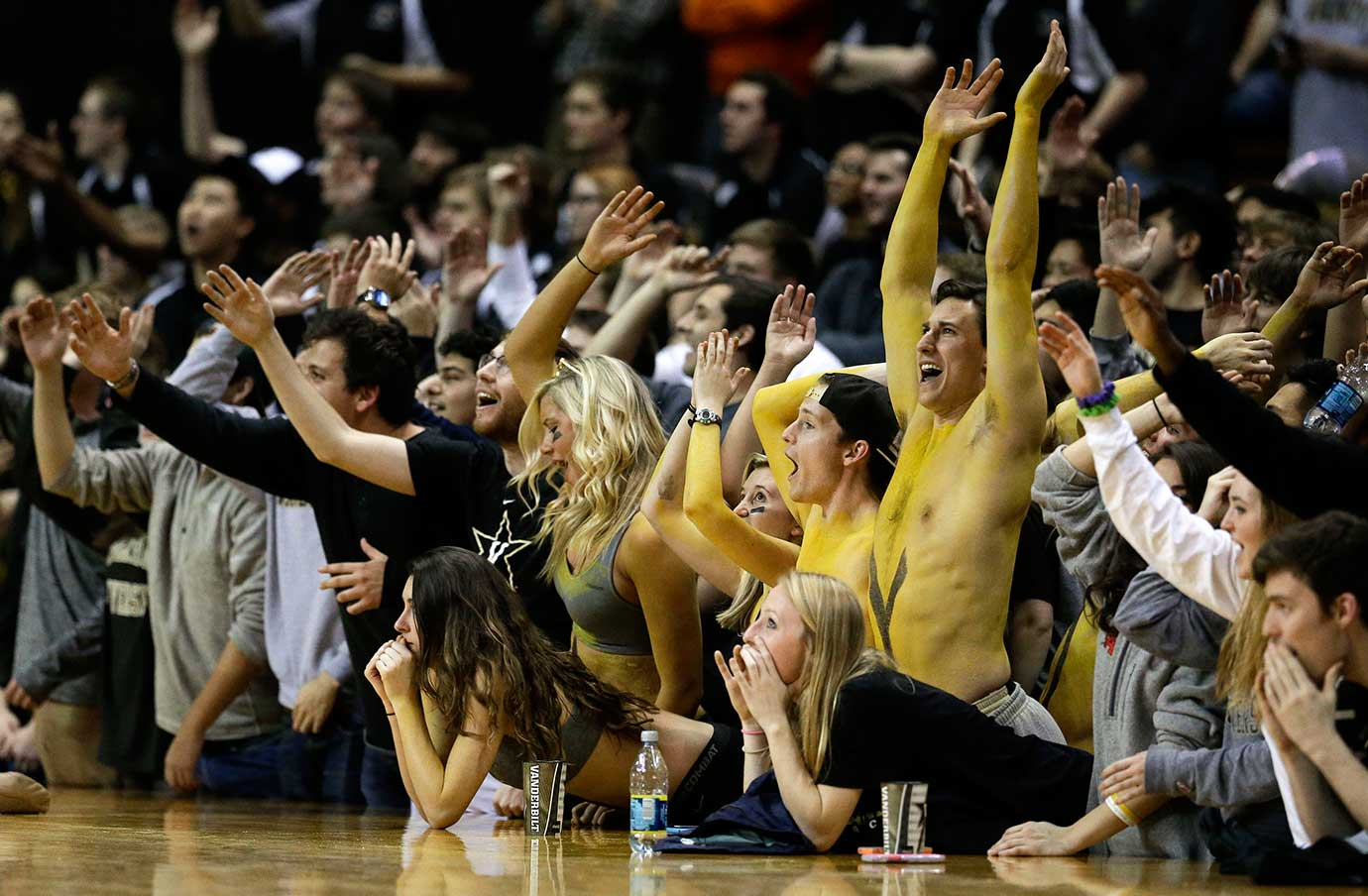 Vanderbilt fans cheer during their school's game against Florida in Nashville. Vanderbilt  won 60-59.