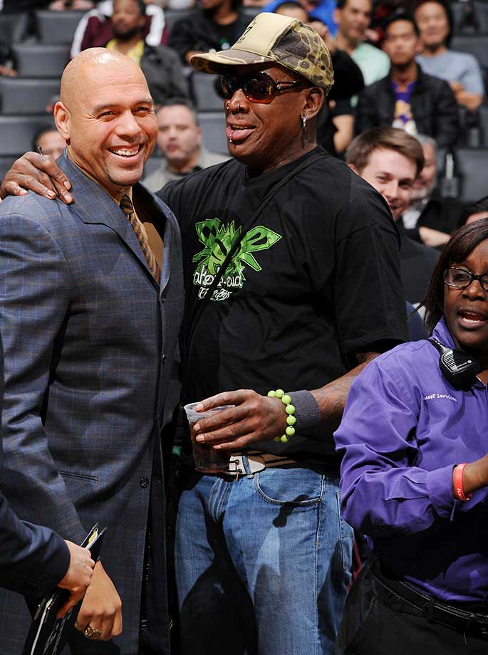 Former NBA player Dennis Rodman attends the game between the Los Angeles Lakers and the Dallas Mavericks at STAPLES Center in Los Angeles.
