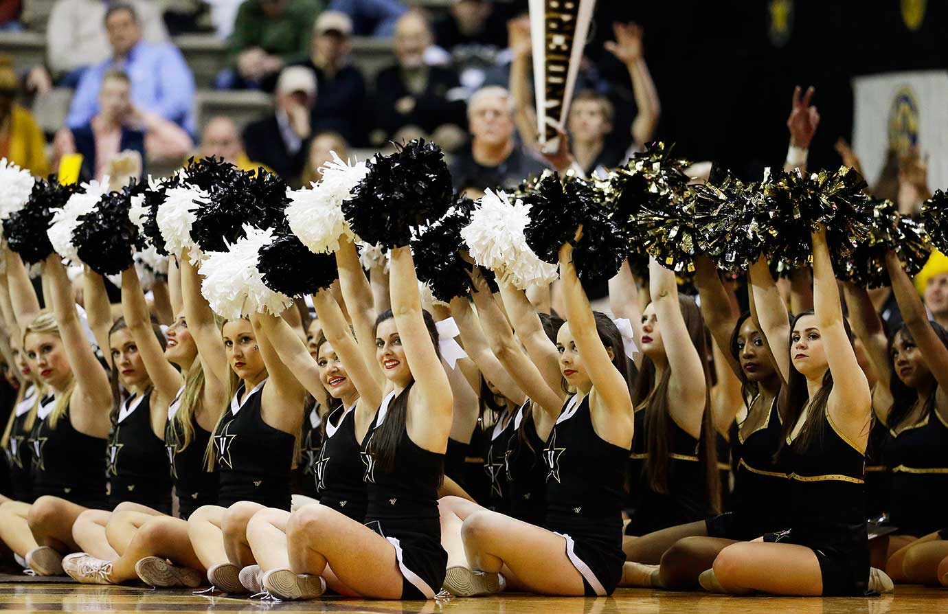 Vanderbilt cheerleaders perform during a game against Florida in Nashville.