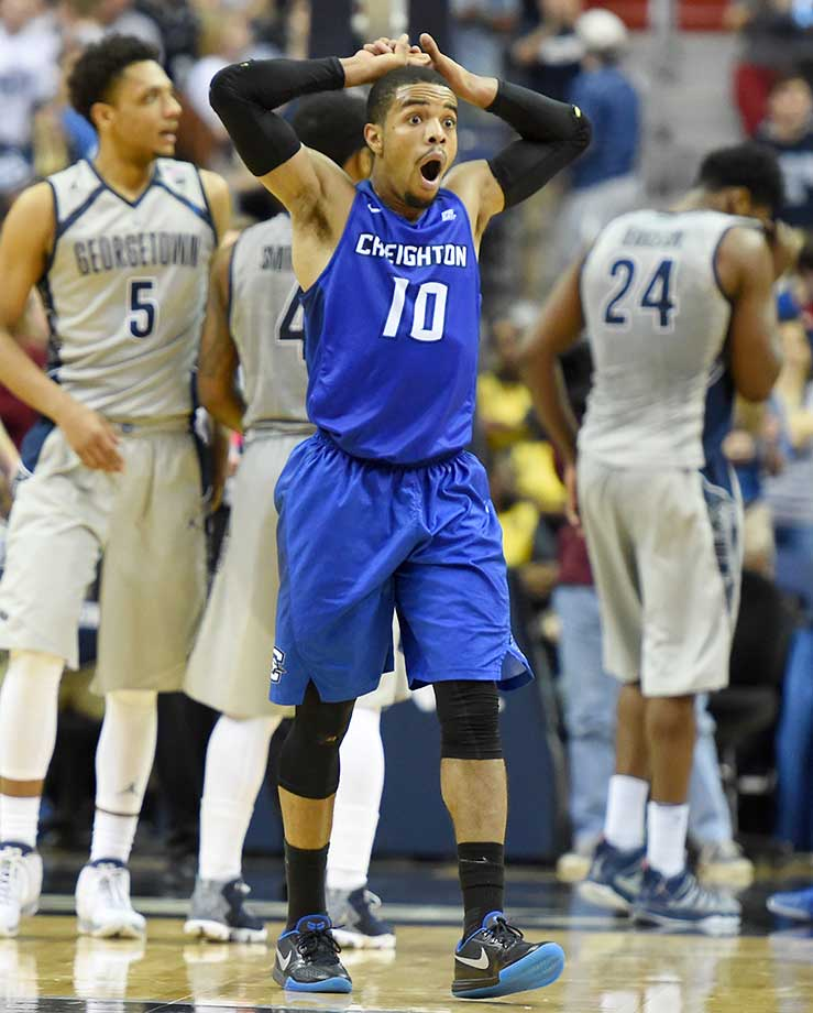 Maurice Watson Jr. of the Creighton Bluejays reacts to getting called for a foul during a game against the Georgetown Hoyas at the Verizon Center in Washington, D.C.