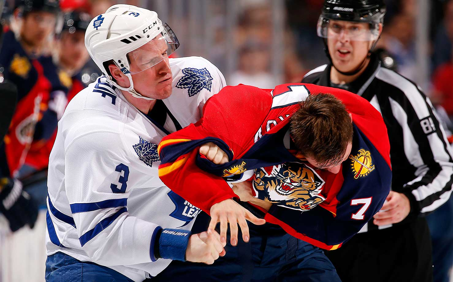 Dion Phaneuf of the Toronto Maple Leafs fights with Dmitry Kulikov of the Florida Panthers at the BB&T Center in Sunrise, Fla.