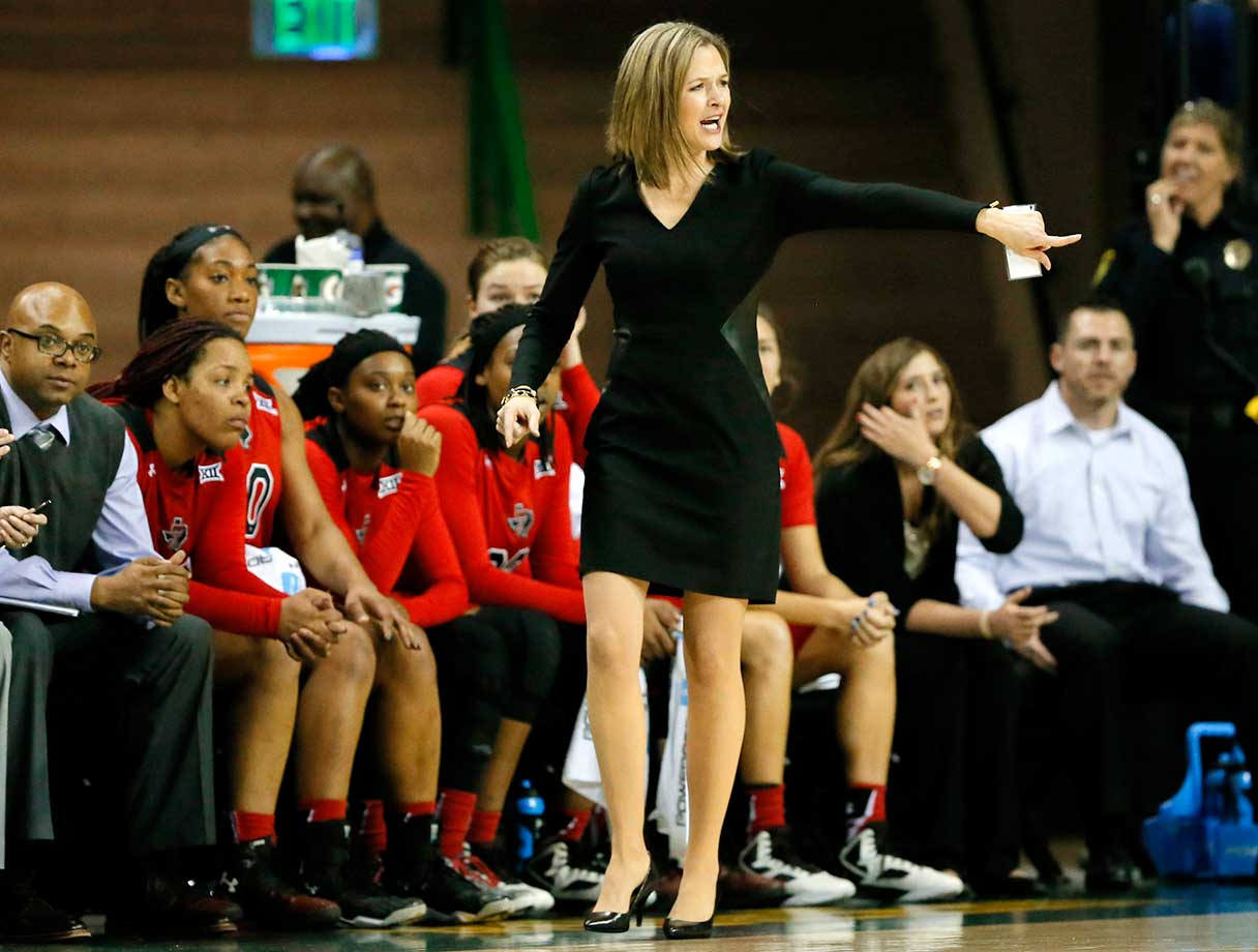 Texas Tech head coach Candi Whitaker instructs her team during a game against Baylor in Waco, Texas.
