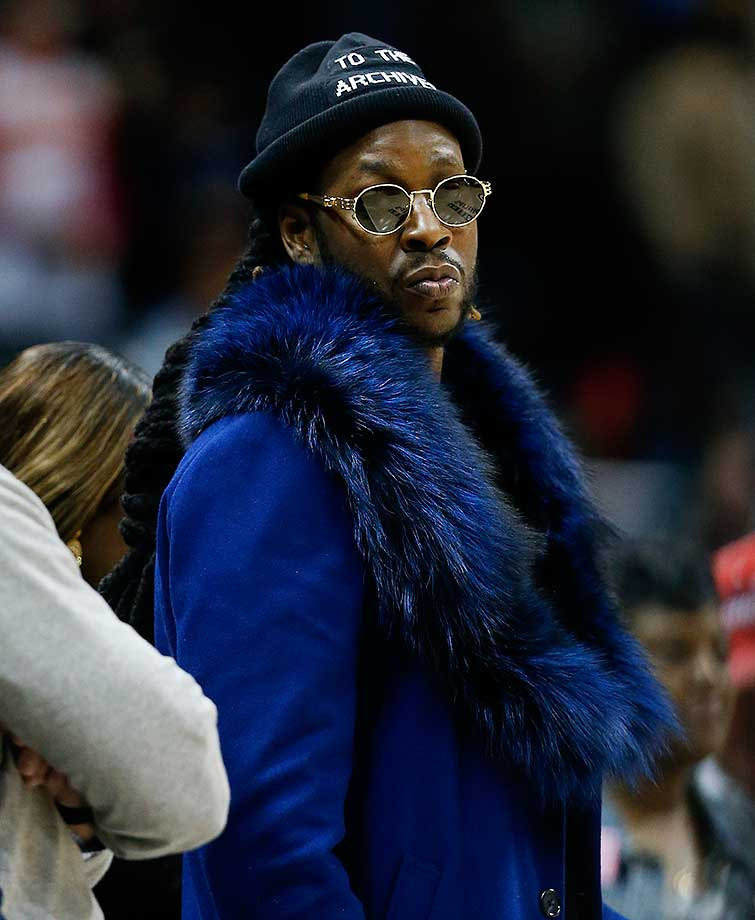 Rapper 2 Chainz at the game between the Atlanta Hawks and Los Angeles Clippers in Atlanta. Los Angeles won 85-83.
