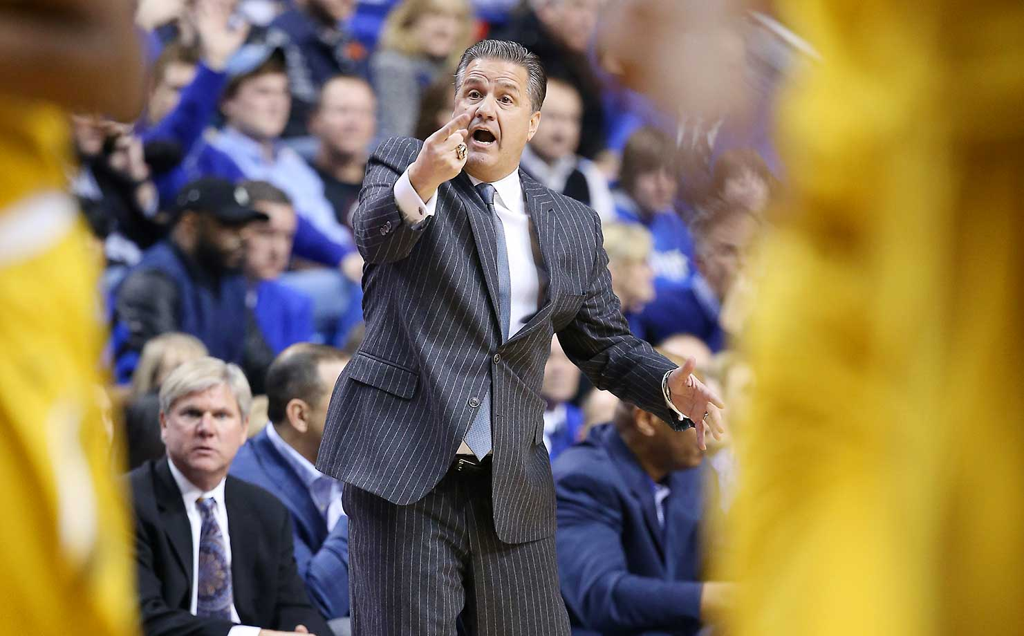 John Calipari of the Kentucky Wildcats gives instructions to his players during a game against the Missouri Tigers at Rupp Arena in Lexington.