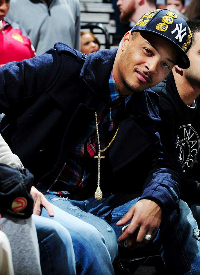 Musician T.I. is seen at the game between the Los Angeles Clippers and Atlanta Hawks at Philips Arena in Georgia.