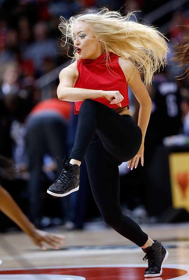 An Atlanta Hawks cheerleader entertains the crowd.