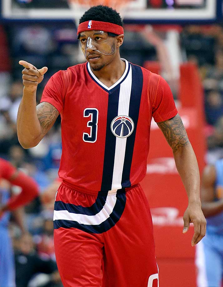Washington Wizards guard Bradley Beal donned a protective mask for a game against the Denver Nuggets in Washington. The Nuggets won 117-113.