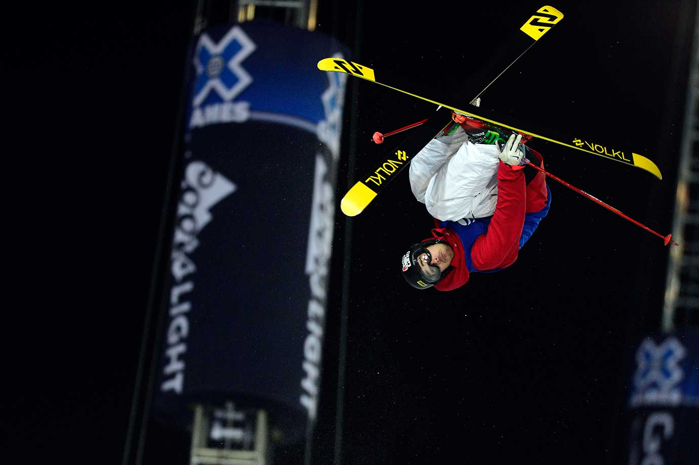 Kevin Rolland of France competes in his final run on the ski halfpipe at Winter X Games 2016 Aspen at Buttermilk Mountain in Colorado. Rolland's score of 93.33 earned him the gold medal.
