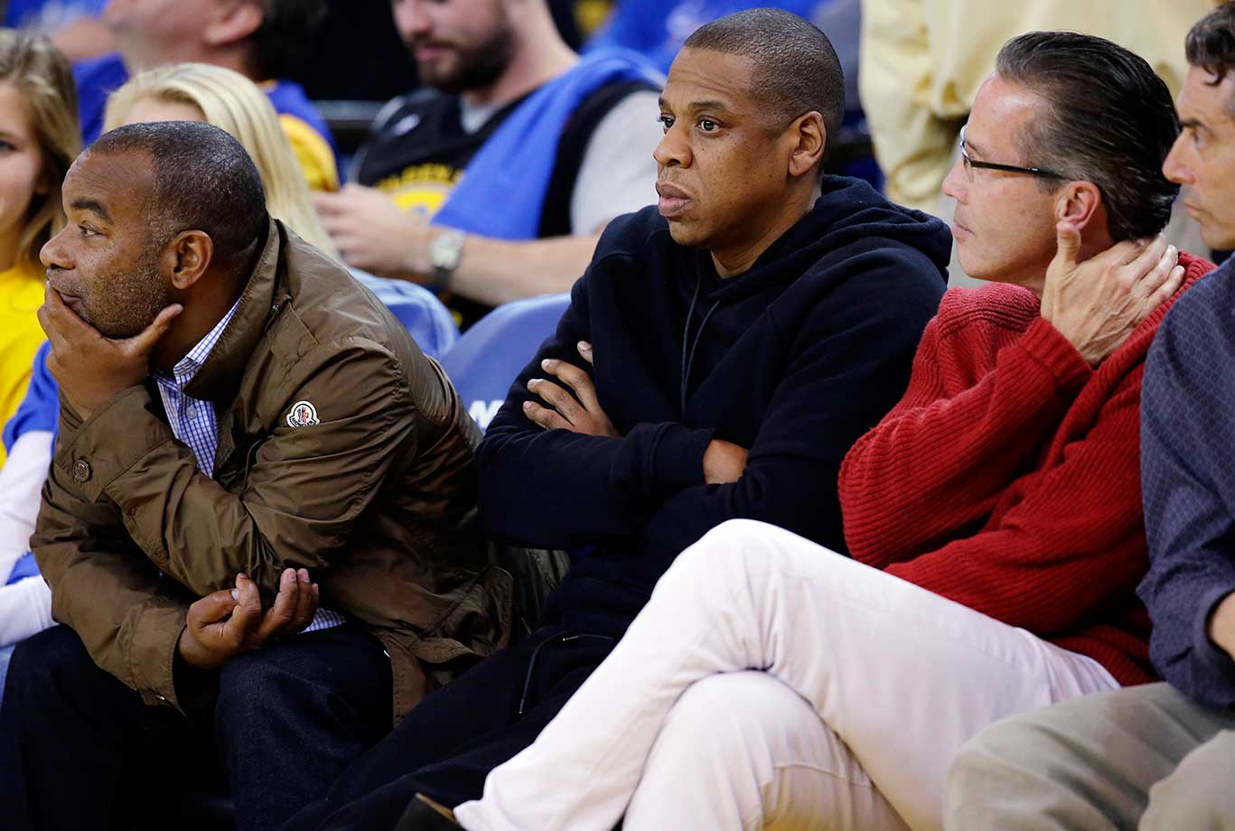 Recording artist Jay-Z watches the Golden State Warriors-San Antonio Spurs game in Oakland, Calif.