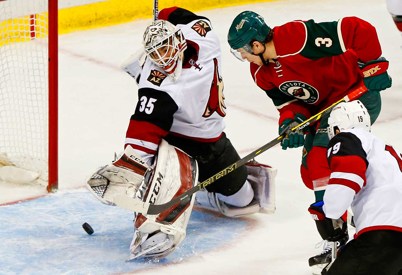 Charlie Coyle of the Minnesota Wild scores against Arizona Coyotes goalie Louis Domingue. The Coyotes won 2-1 in a shootout.