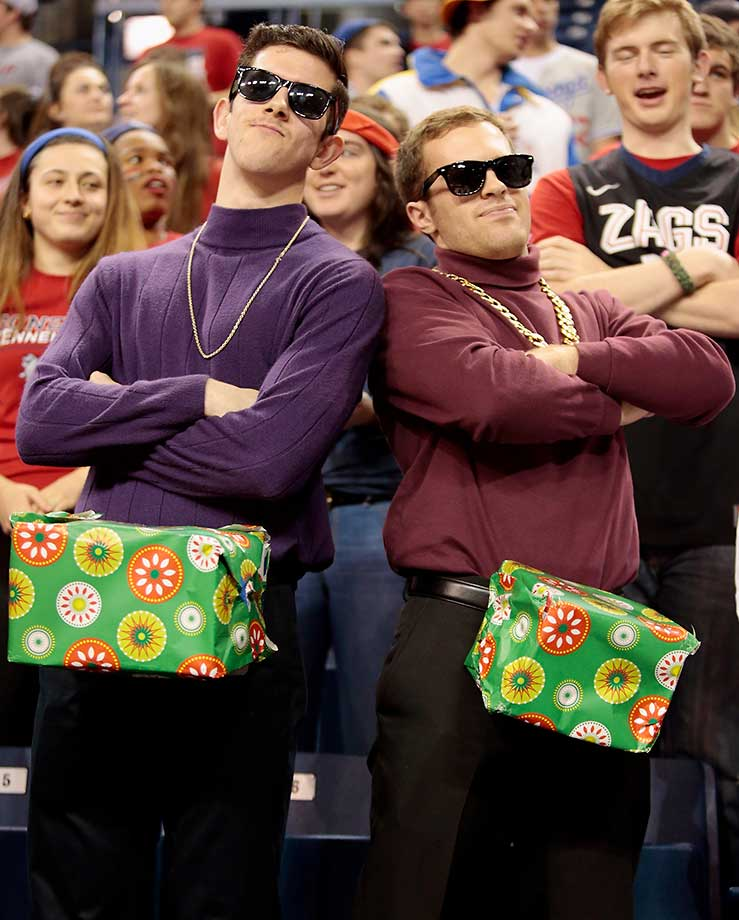 Fans for the Gonzaga Bulldogs dress as Saturday Night Live characters prior to the game against the Santa Clara Broncos at McCarthey Athletic Center in Spokane, Wash. Gonzaga defeated Santa Clara 84-67.