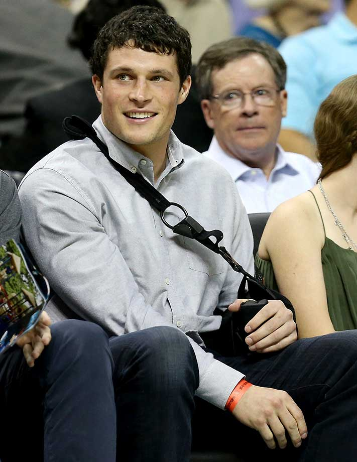 Linebacker Luke Kuechly of the Carolina Panthers watches the Phoenix-Charlotte game.