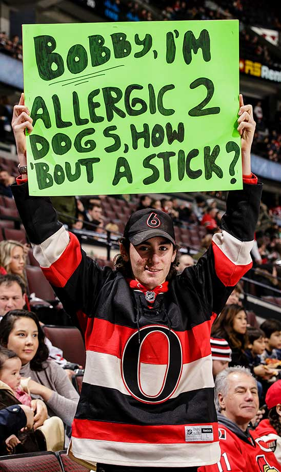 A fan holds up a sign for Bobby Ryan during warmups prior to a game between Ottawa and St. Louis.