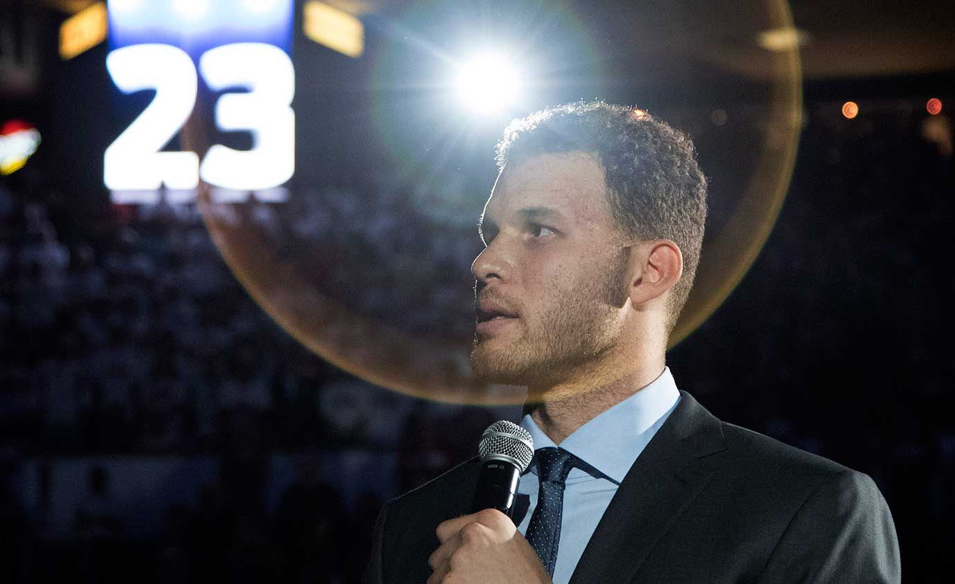 Blake Griffin speaks during a ceremony to retire his Oklahoma college number 23 in Norman.