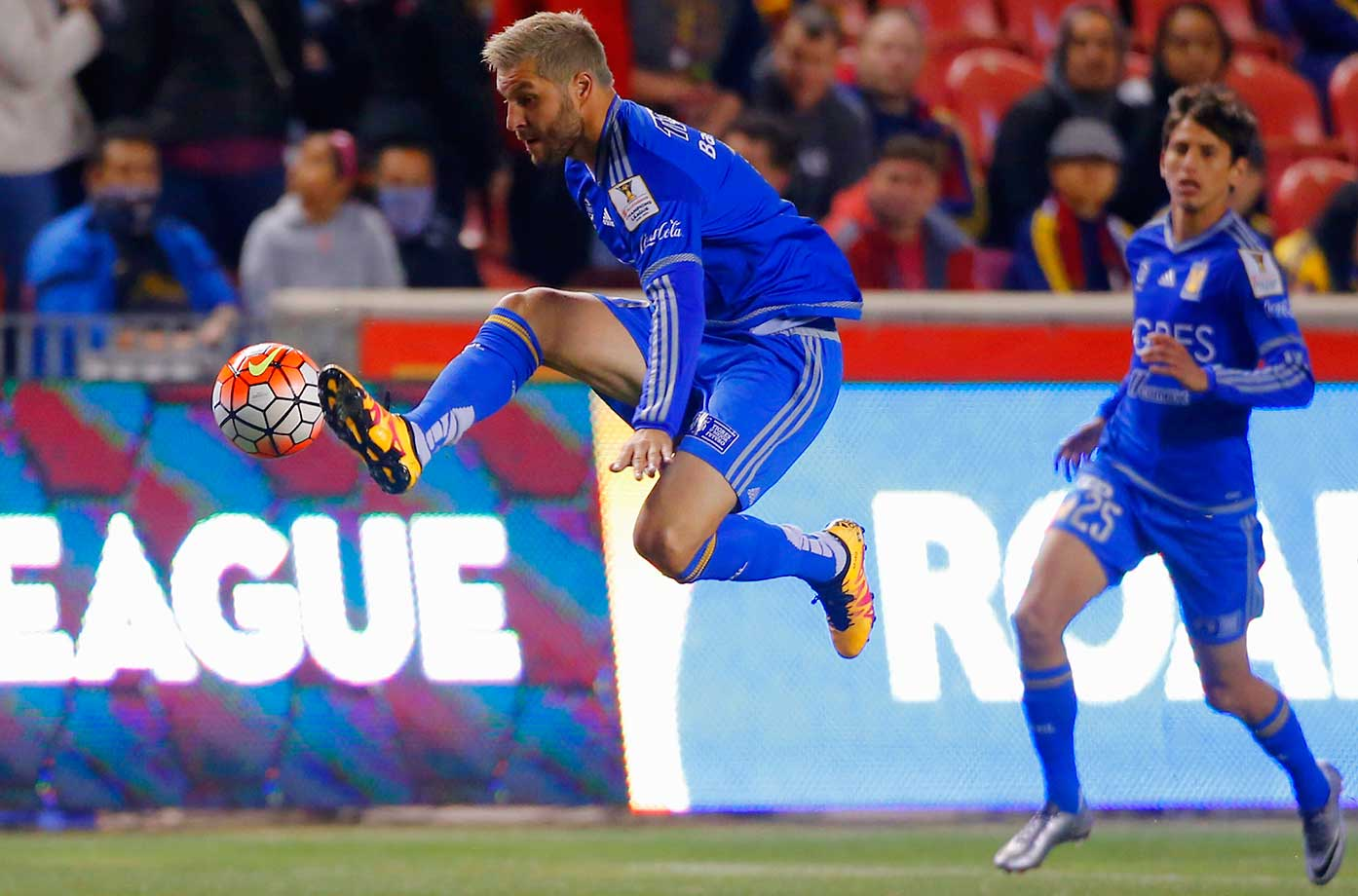 Andre Gignac of Tigres controls the ball during a match against Real Salt Lake in the CONCACAF Championship League.