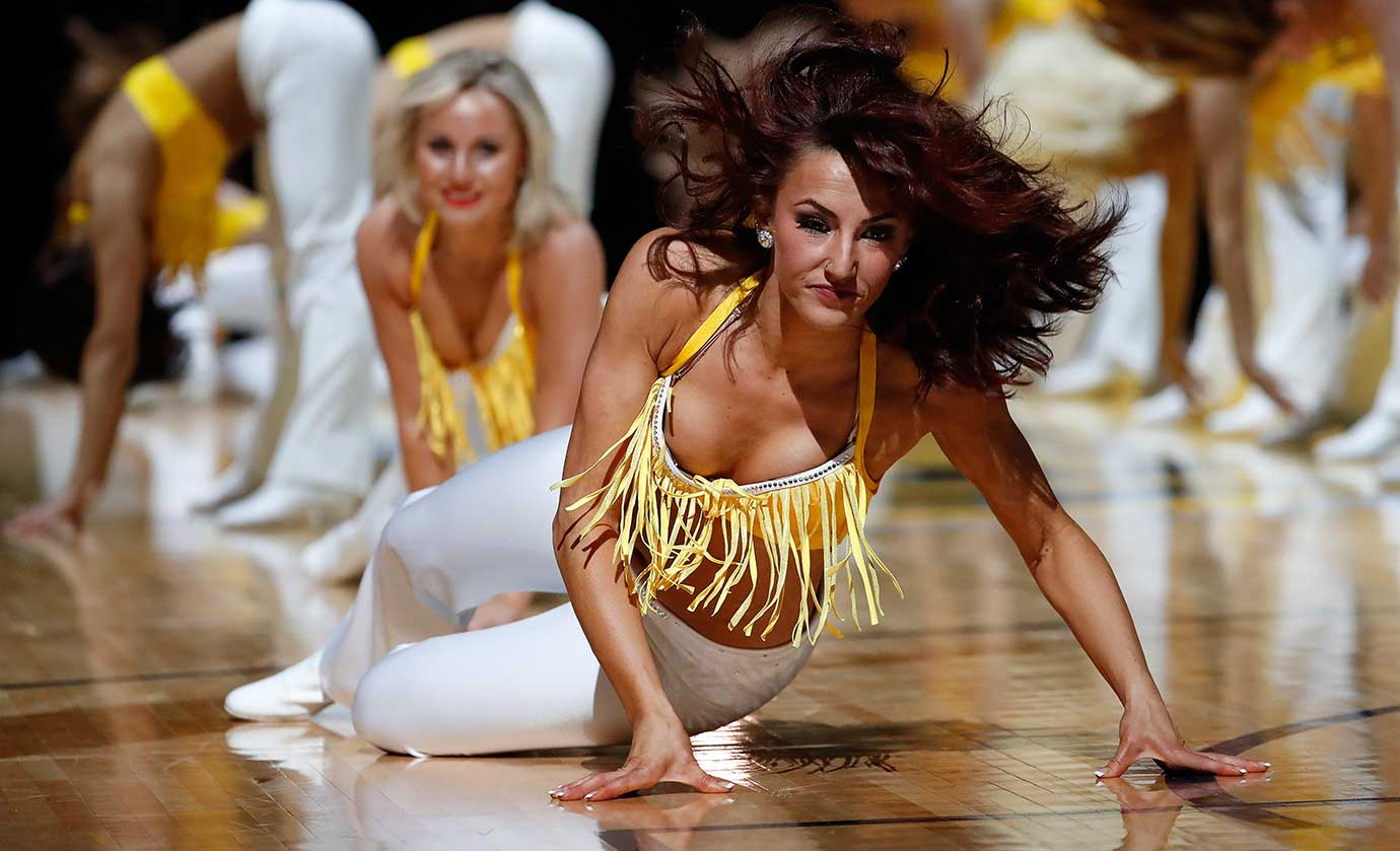 The Denver Nuggets Dancers perform during a break in the action against the Los Angeles Lakers.