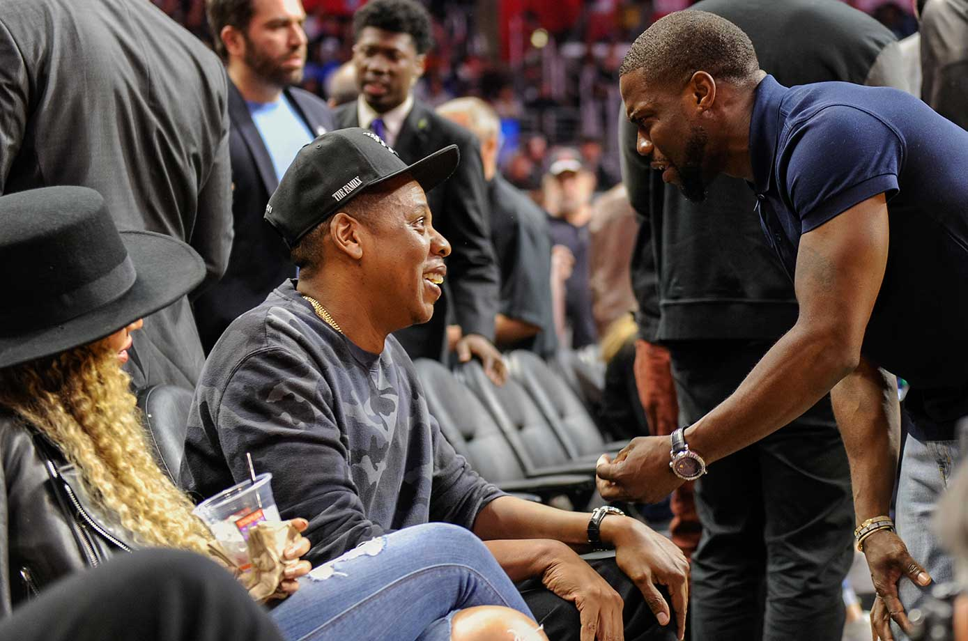Beyonce, Jay-Z and Kevin Hart at the L.A. Clippers-Oklahoma City Thunder game at Staples Center.