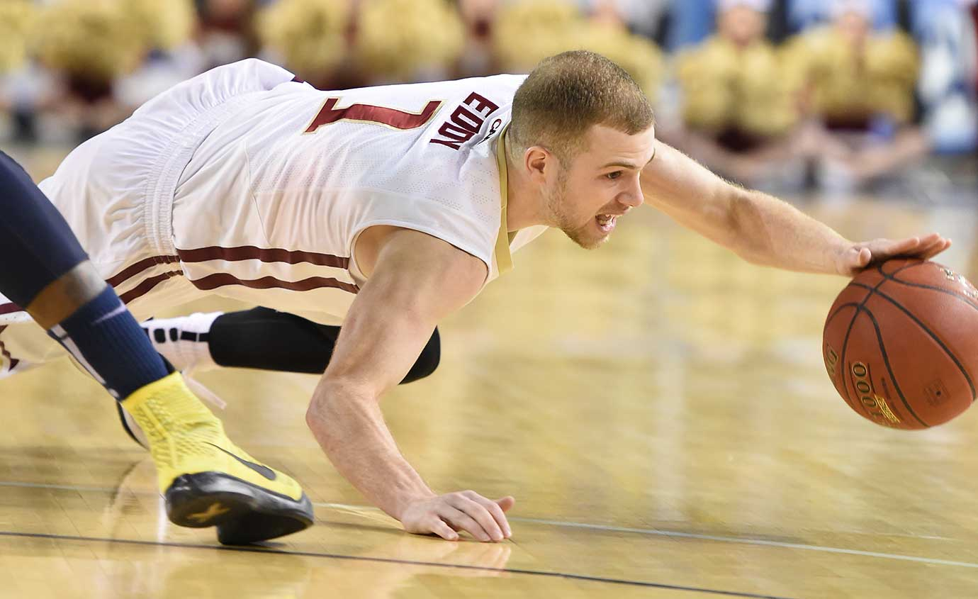 Luke Eddy of the Elon Phoenix tries to control the ball against Drexel.