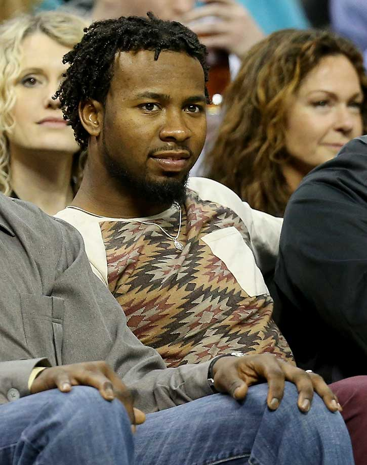 Josh Norman of the Carolina Panthers watches the Indiana Pacers and Charlotte Hornets.
