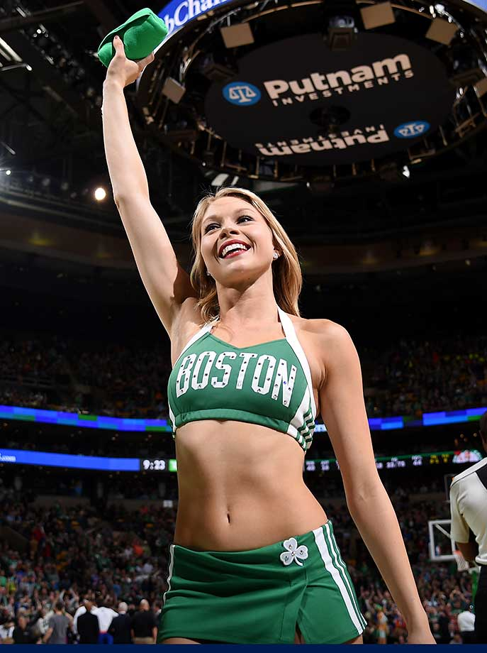A Boston Celtics dancer is seen during the game against the New York Knicks.