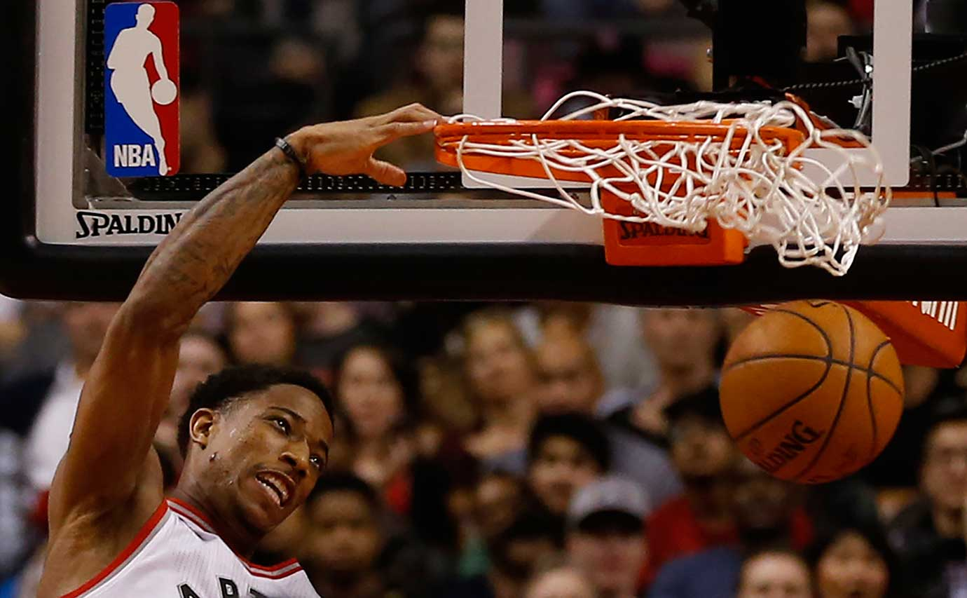 Toronto guard DeMar DeRozan slams the ball for a basket against the Portland Trail Blazers.