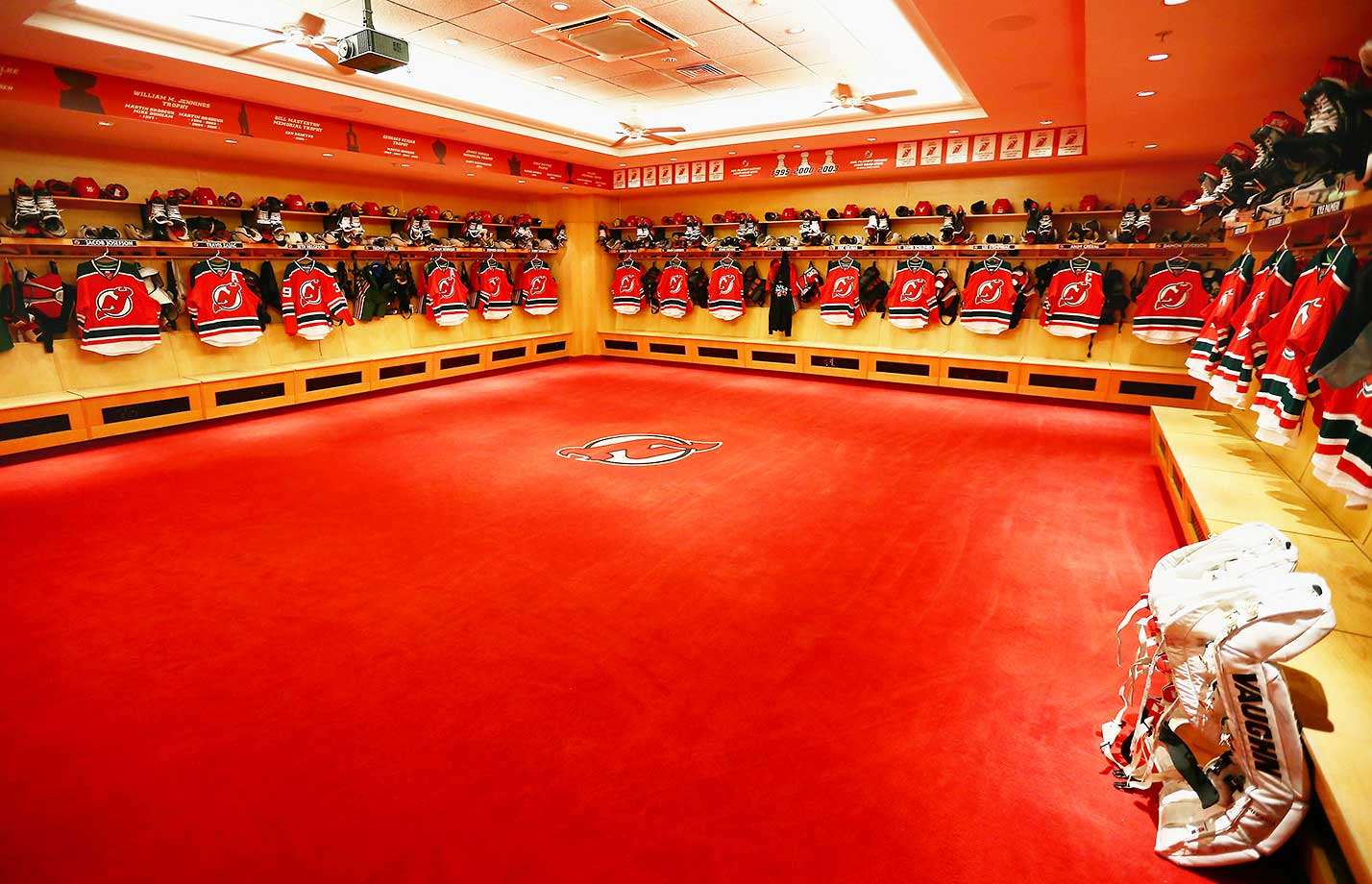 A general view of the New Jersey Devils locker room displaying the retro jerseys that would be worn against Philadelphia.