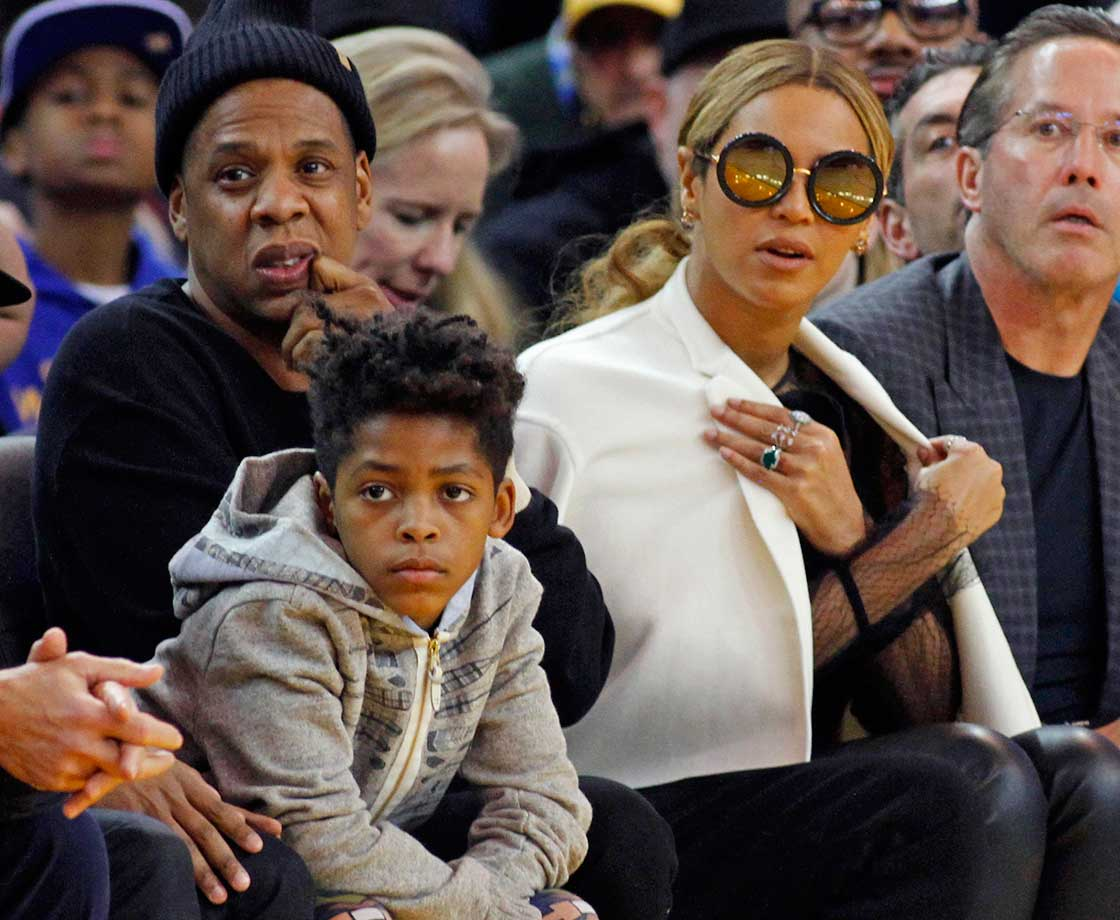 Jay-Z and Beyoncé at the Oklahoma City Thunder game against Golden State in Oakland.