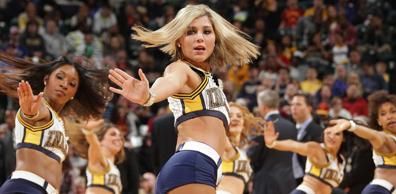 The Indiana Pacers dancers perform during the game against the Philadelphia 76ers.