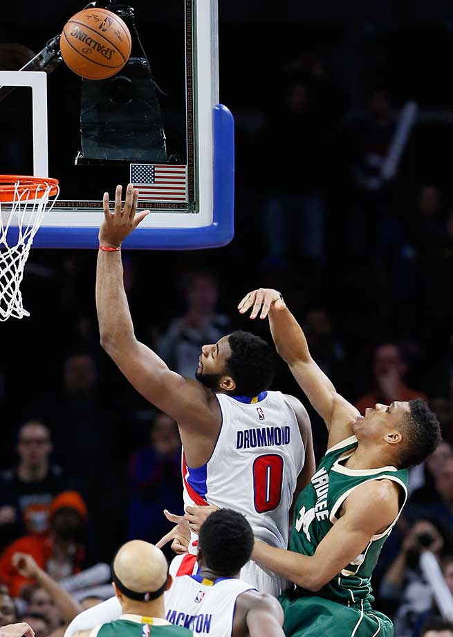 Andre Drummond puts back a missed shot for the game winner as Detroit defeated Milwaukee 92-91.