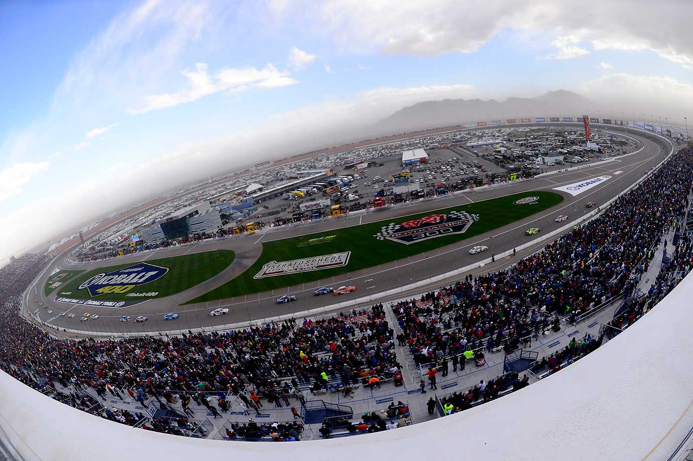 A view of a dust storm over the NASCAR Sprint Cup Series Kobalt 400 at Las Vegas Motor Speedway.