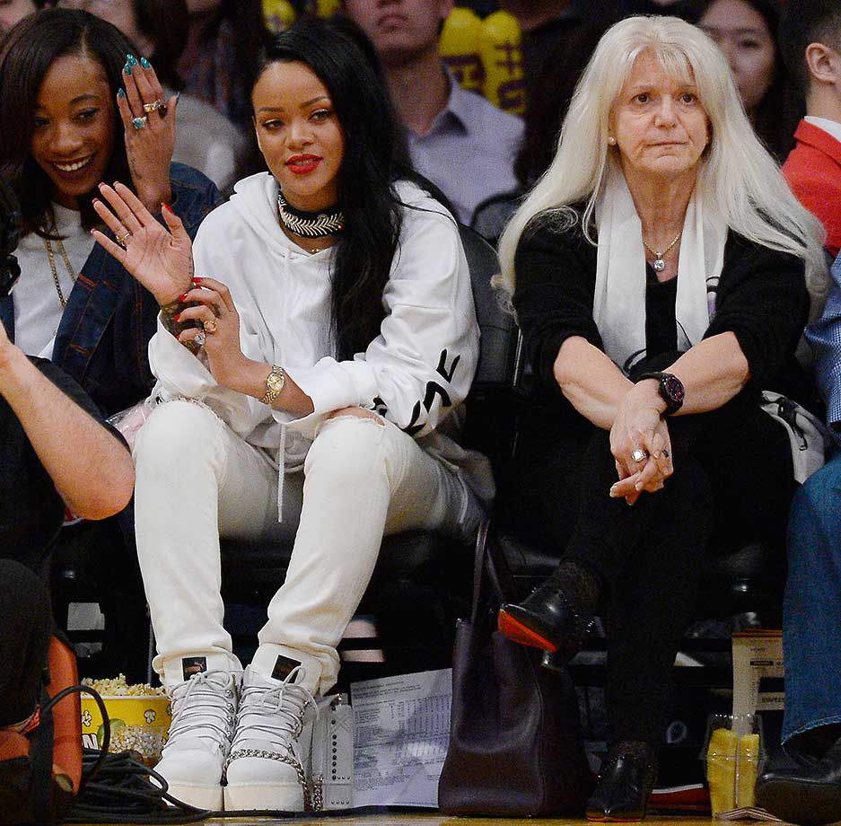Rihanna in courtside seats at Sunday's Lakers-Warriors game.