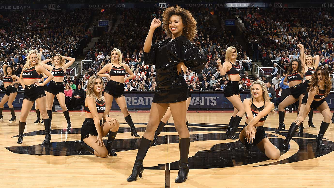 The Toronto Raptors dance team is seen during the game against the Houston Rockets.