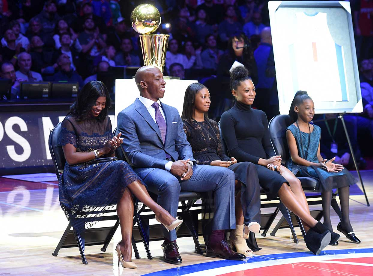 Former Detroit Pistons Chauncey Billups had his  #1 jersey retired during the game against the Denver Nuggets.