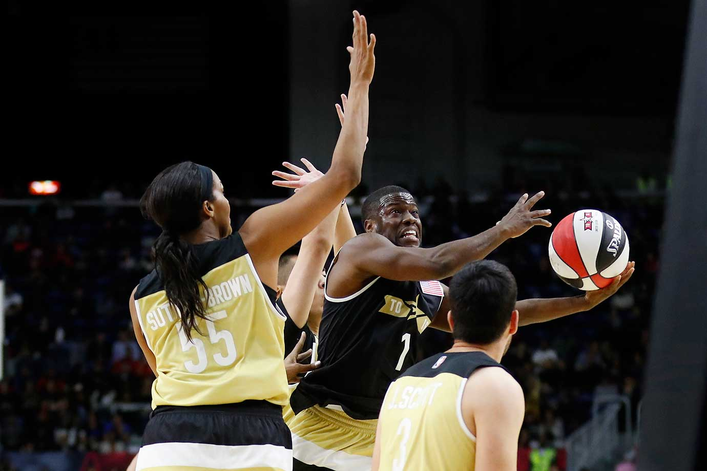 Comedian Kevin Hart goes up for a shot against Team Canada during the annual celebrity game at NBA All-Star weekend in Toronto.