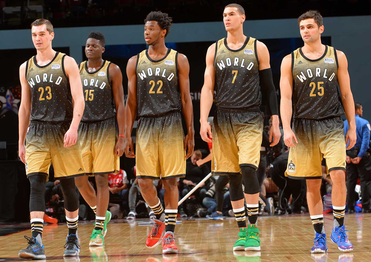 Mario Hezonja (23), Clint Capela (15), Andrew Wiggins (22), Dwight Powell (7) and Raul Neto during Rising Stars Challenge.