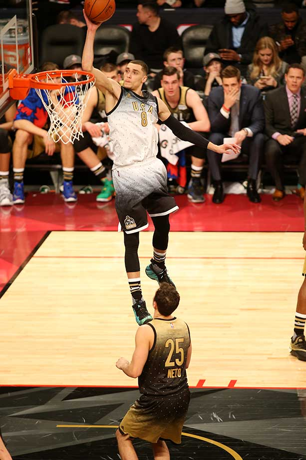 Zach LaVine of the USA Team goes for the dunk against the World Team during the Rising Stars Challenge.