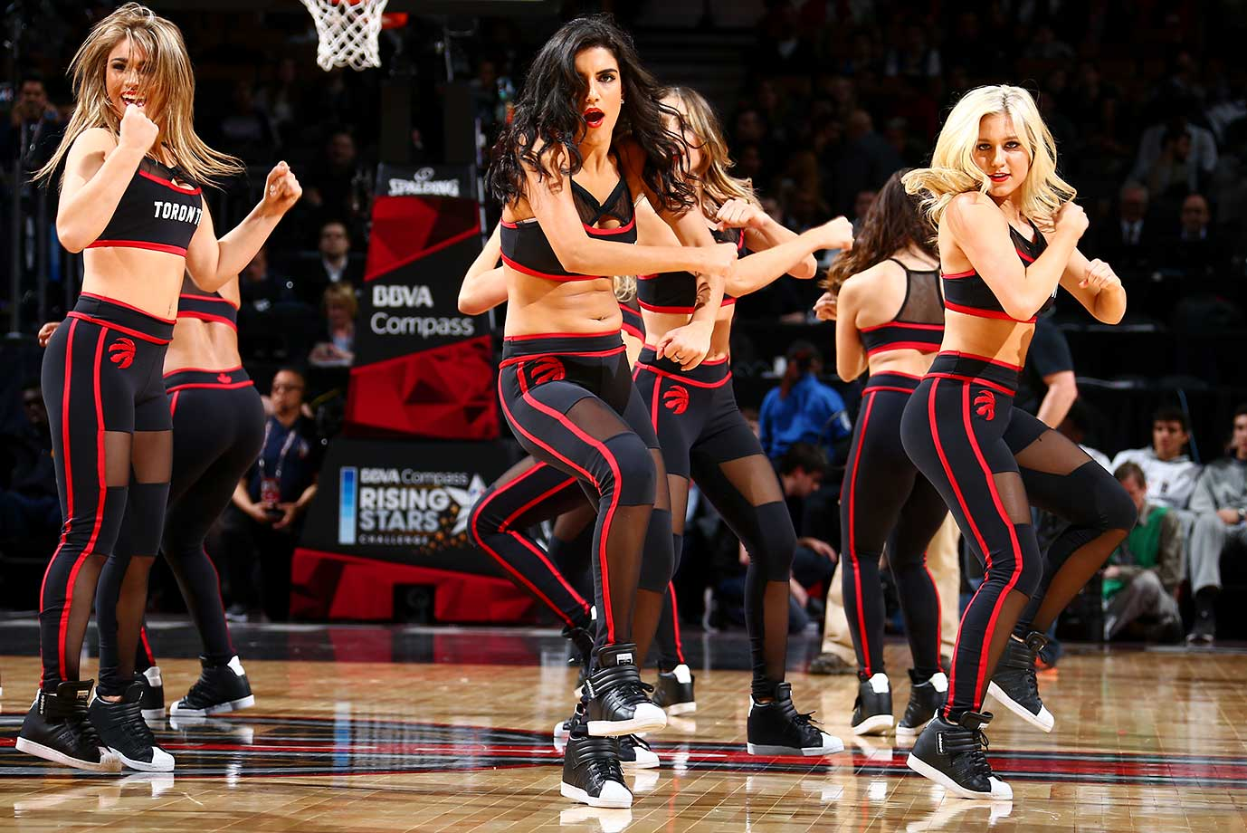 The Toronto Raptors dance team entertains during the Rising Stars Challenge as part of NBA All-Star Weekend.