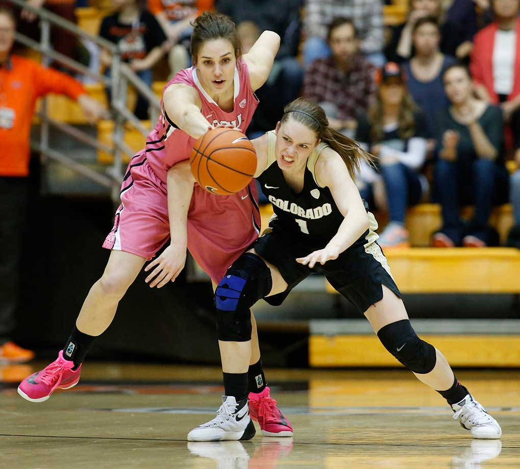 Oregon State's Samantha Siegner, left, steals the ball from Colorado's Makenzie Ellis.
