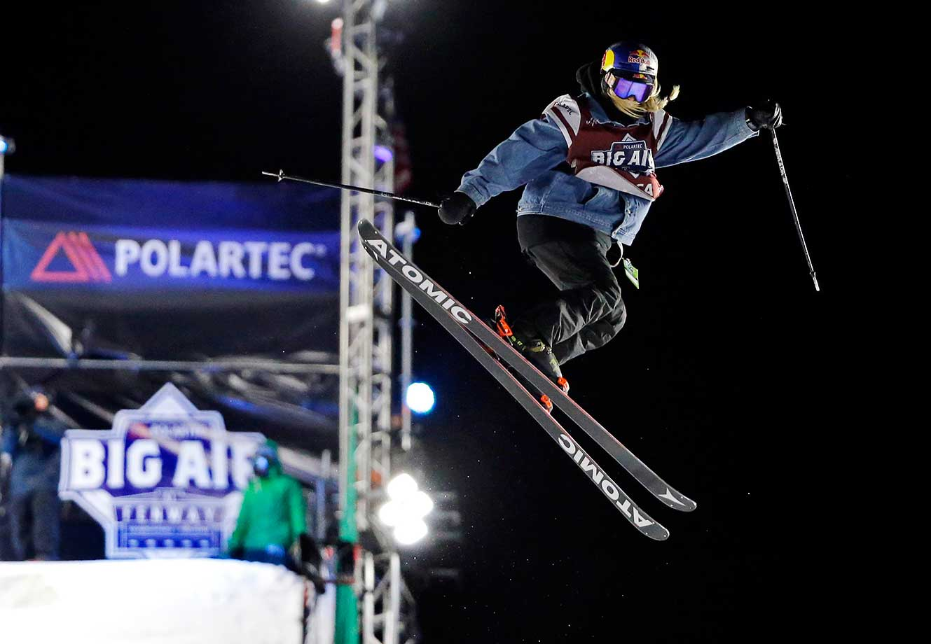 Lisa Zimmermann of Germany  jumps during the Big Air at Fenway Park skiing and snowboarding event in Boston.